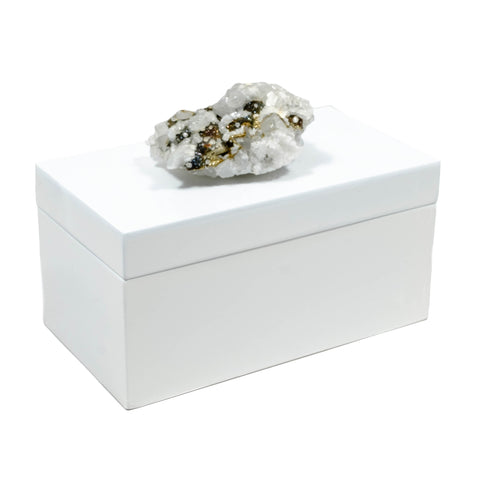 Large White Lacquer Box with calcite crystal and pyrite.