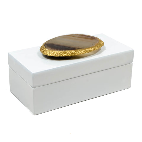 White lacquer box with a natural agate slice is perfect for any home decor.