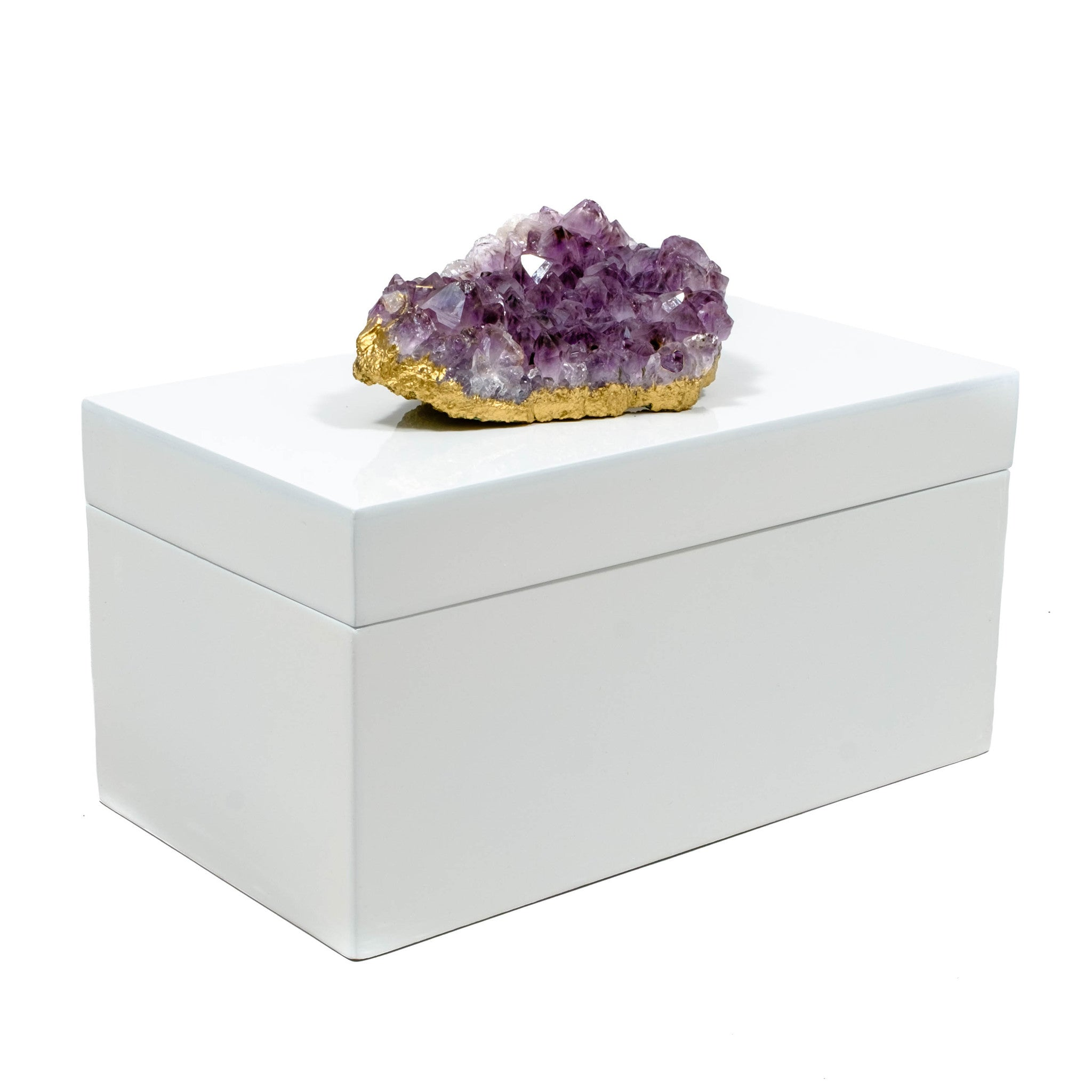 Large White Lacquer Box with Amethyst
