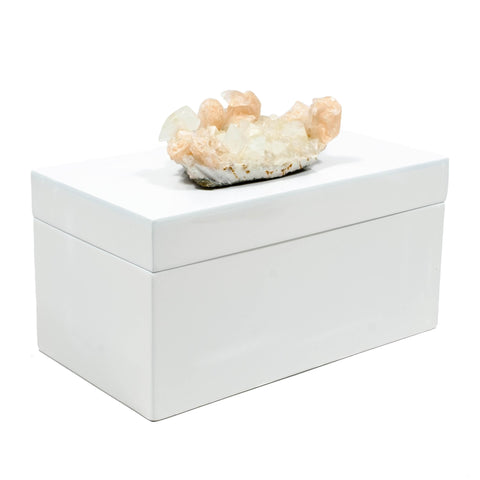 Large White Lacquer Box with Apophyllite Crystal