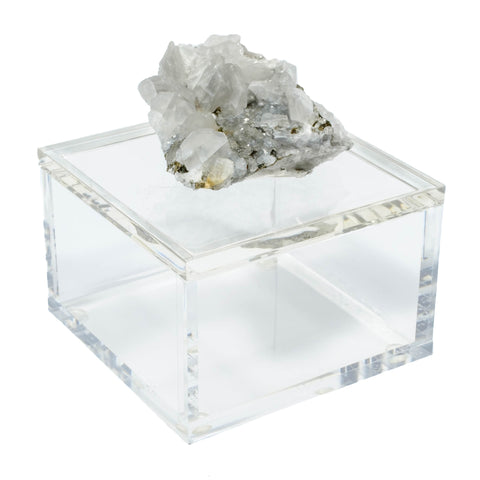 Mineral acrylic box with calcite crystal and pyrite from Morocco