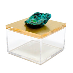 metallic gold gem box with azurite