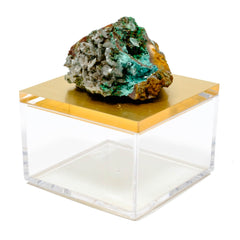 metallic gold gem box with rosasite crystal from Mexico.