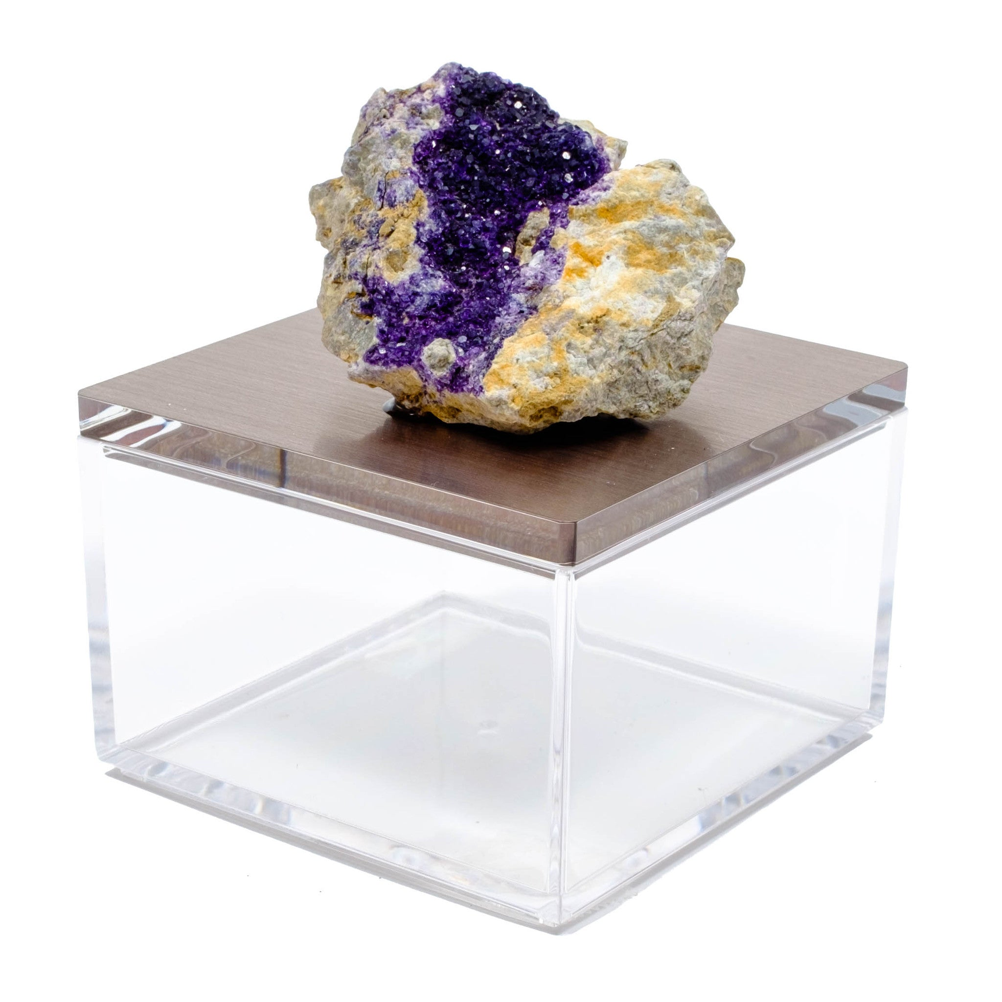 Metallic silver gray gem boxes with fluorite from Morocco.