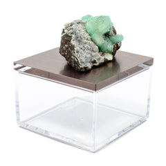 Metallic silver gray gem boxes with green apophyllite from India.