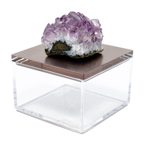 Metallic silver gray gem boxes with amethyst.