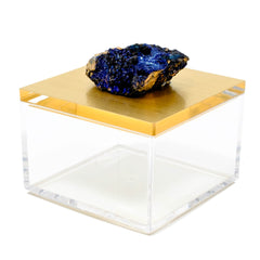 metallic gold gem box with azurite from Morocco by Mapleton Drive
