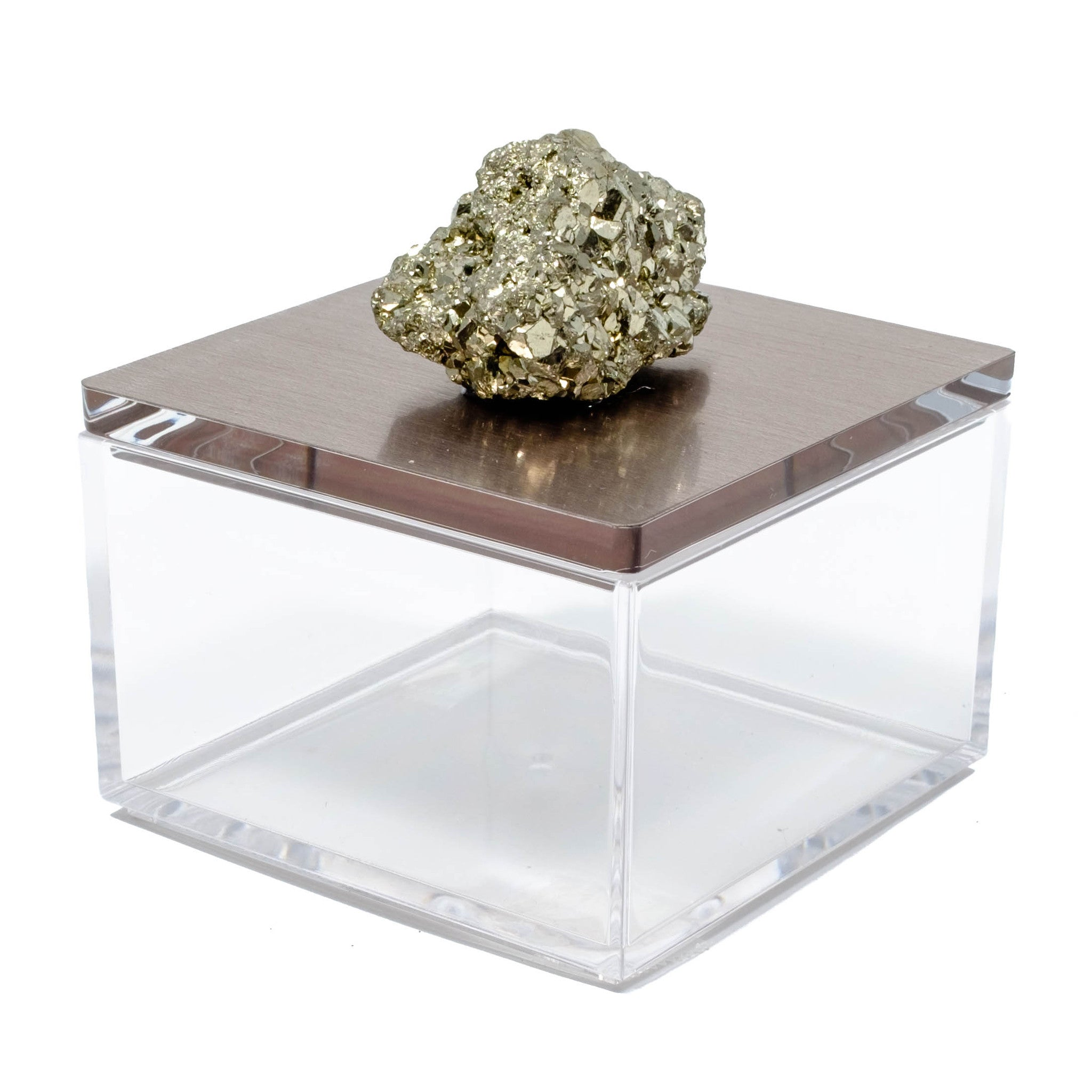 Metallic silver gray gem box with pyrite