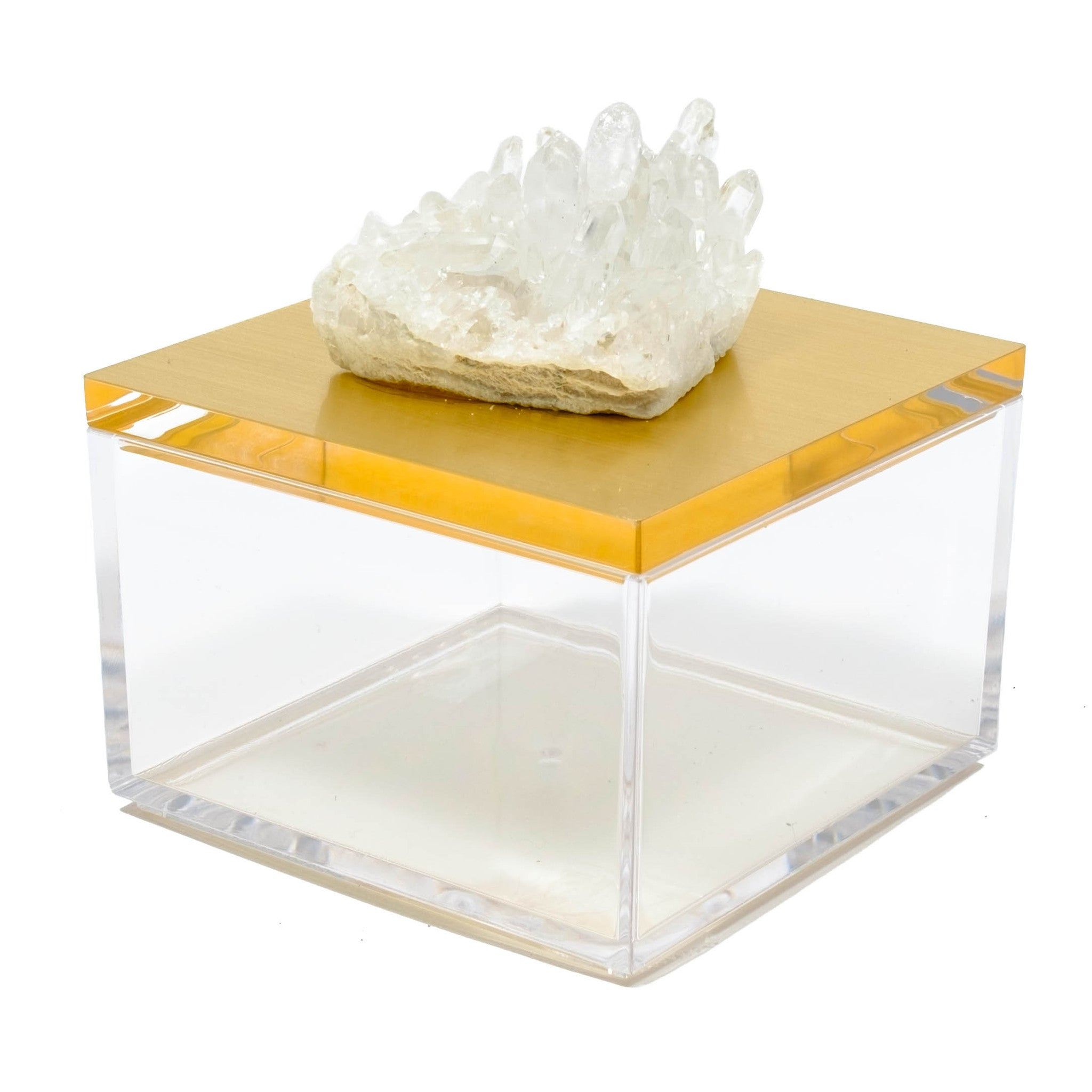 metallic gold gem box with Himalayan crystal by Mapleton Drive