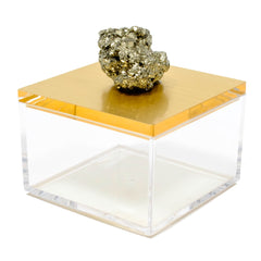 metallic gold gem box with pyrite from Peru.