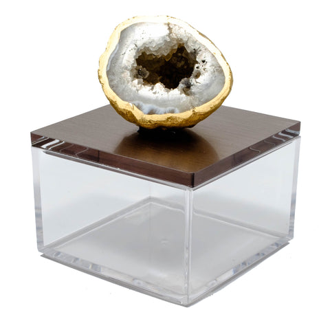 Metallic silver gray gem box with oco geode.