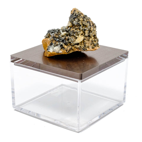 Cerussite metallic gem box in gun metal gray acryllic