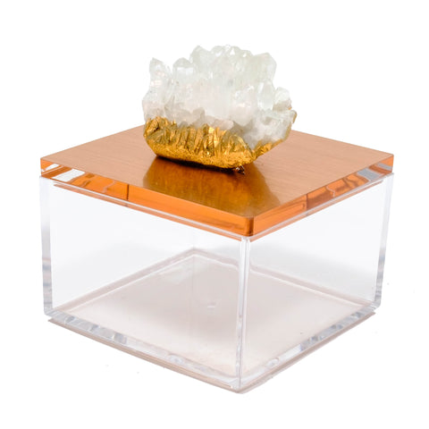 Himalayan crystal gem box in Rose gold acrylic.