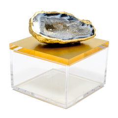 metallic gold gem box with a oco geode.