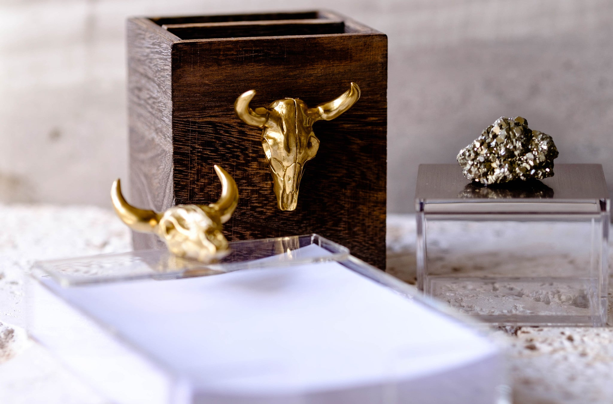 Office decor for the man cave, this unique bull head pencil cup is just enough rough and tumble for your desktop.