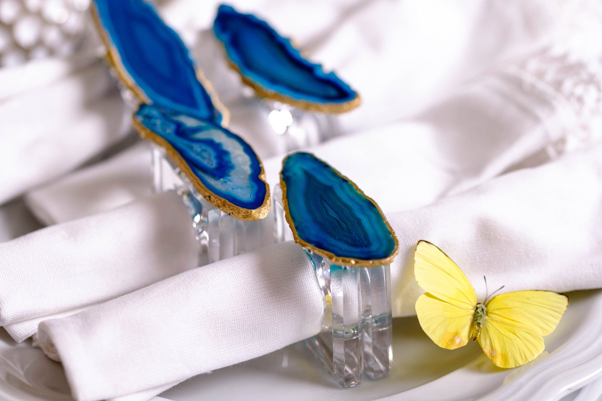 Turquoise Teal Blue Agate Napkin Rings