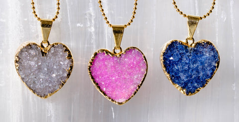 drusy heart necklaces