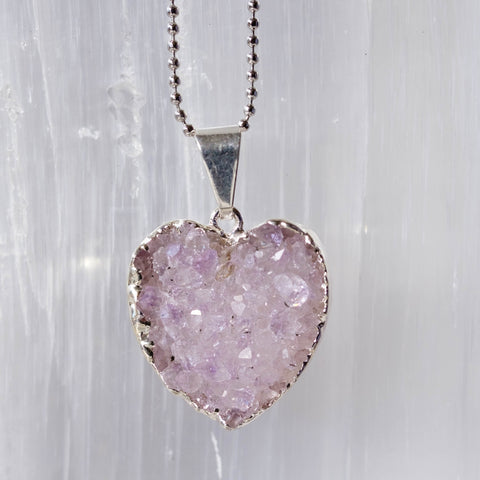 amethyst heart necklace in silver plate