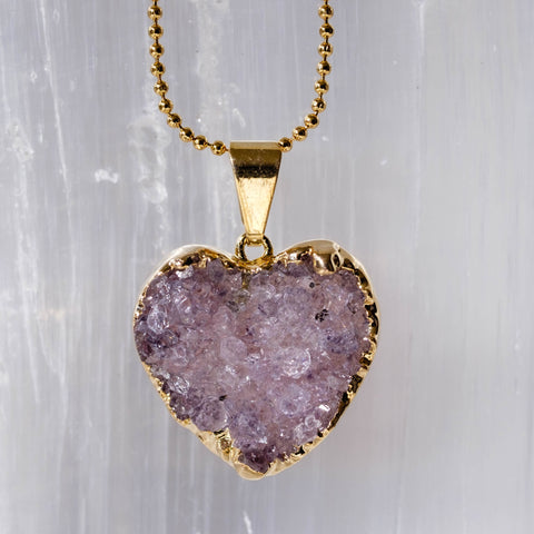 Amethyst heart necklace in gold plate