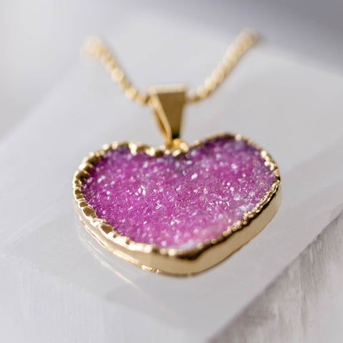 pink heart drusy crystal necklace