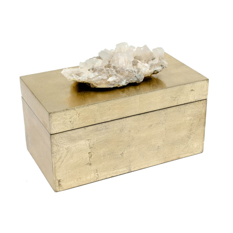 Brushed Gold Box with Calcite Crystal