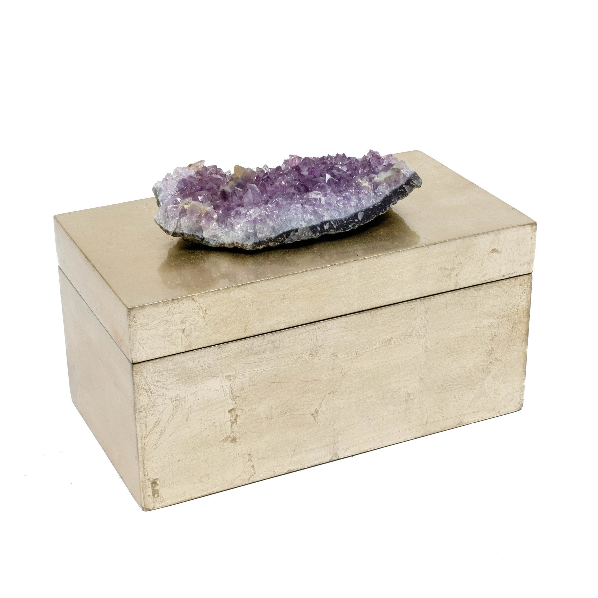 Brushed Gold Box with Amethyst Crystal