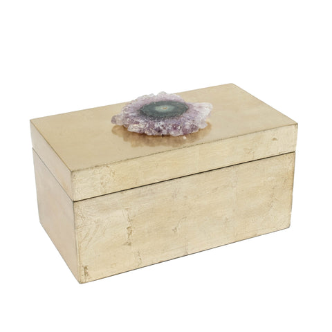 Brushed Gold Box with Amethyst Crystal Flower