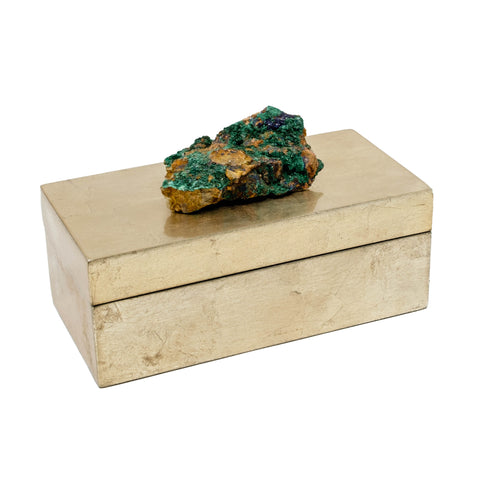 Brushed Gold Box with Malachite Specimen