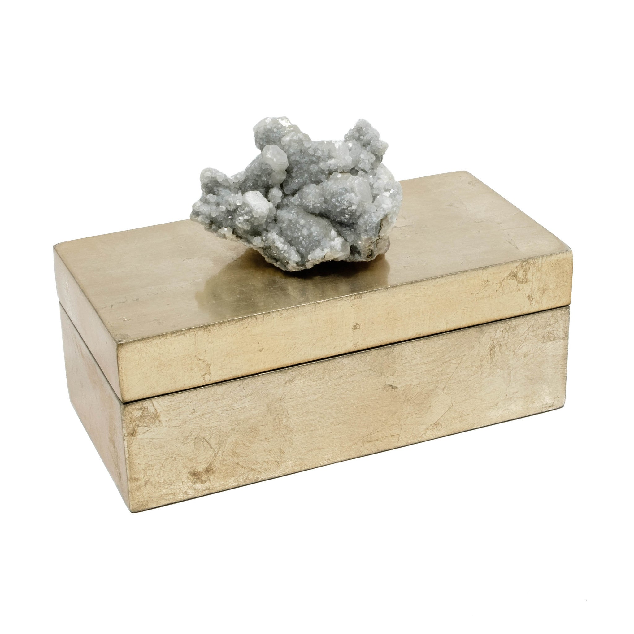 Brushed Gold Box with Gray Apophyllite Crystal