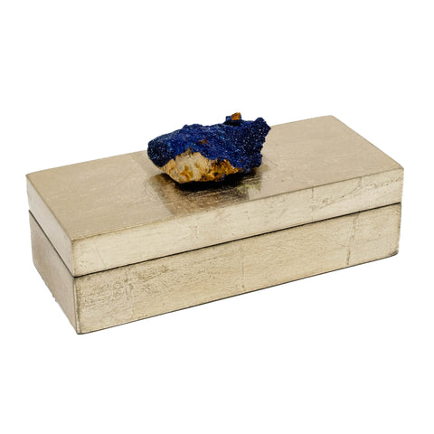 Small Brushed Gold Box w/ Azurite Crystal