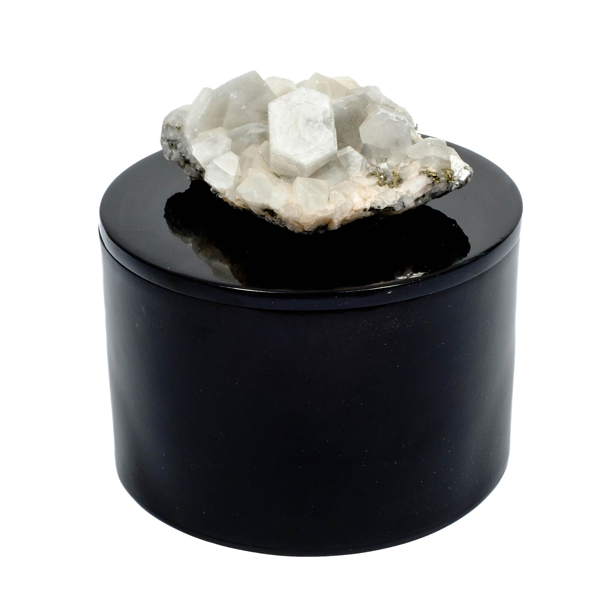 Round Black Lacquer Box with Apophyllite Crystal