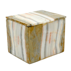 Large Rectangle Natural Green and Gray Stripe Onyx Stone Box