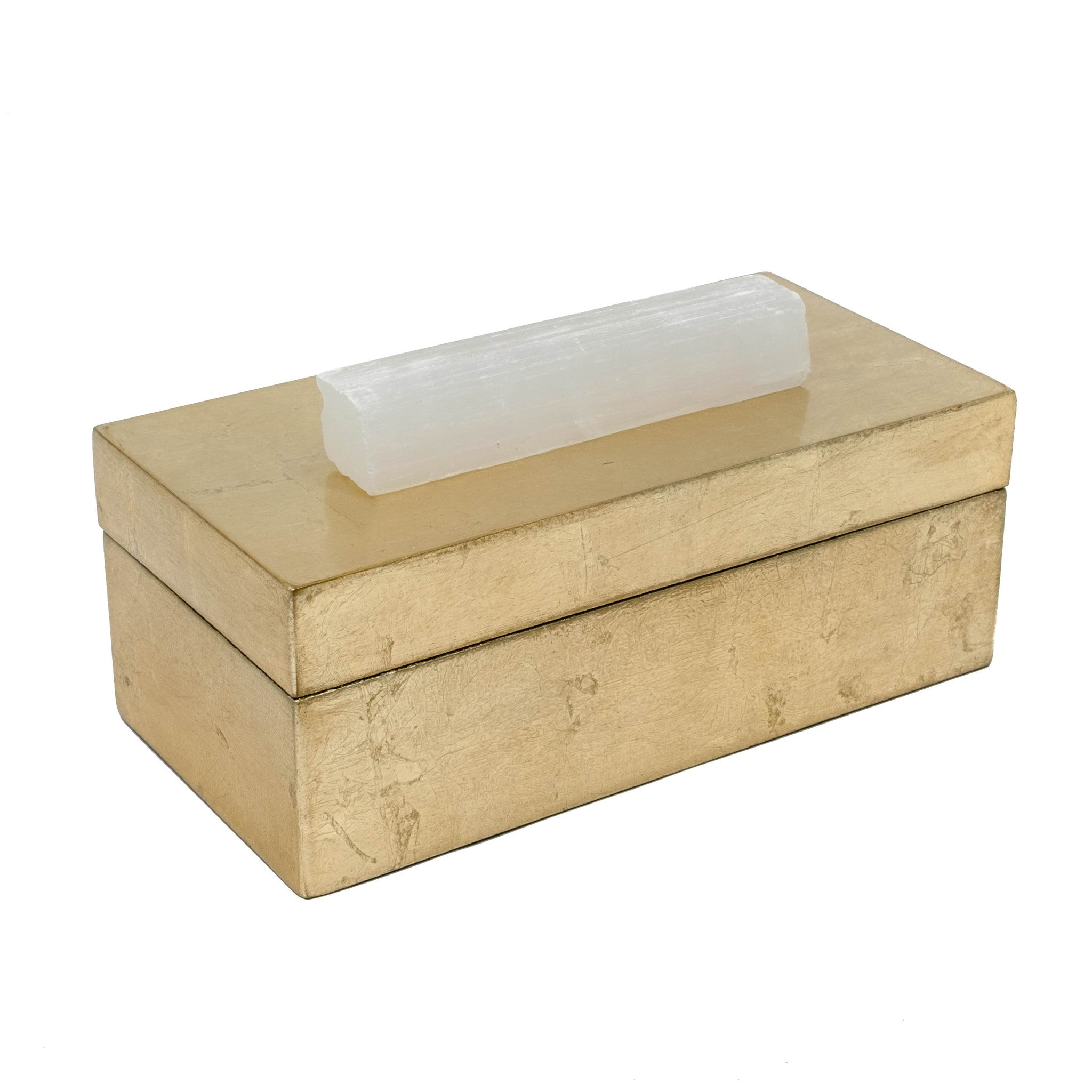 gold box with selenite crystal for your jewelry.