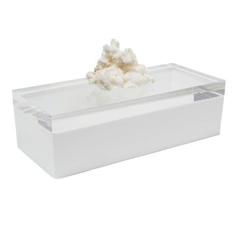 Acrylic White Box w/ Aragonite Crystal Specimen