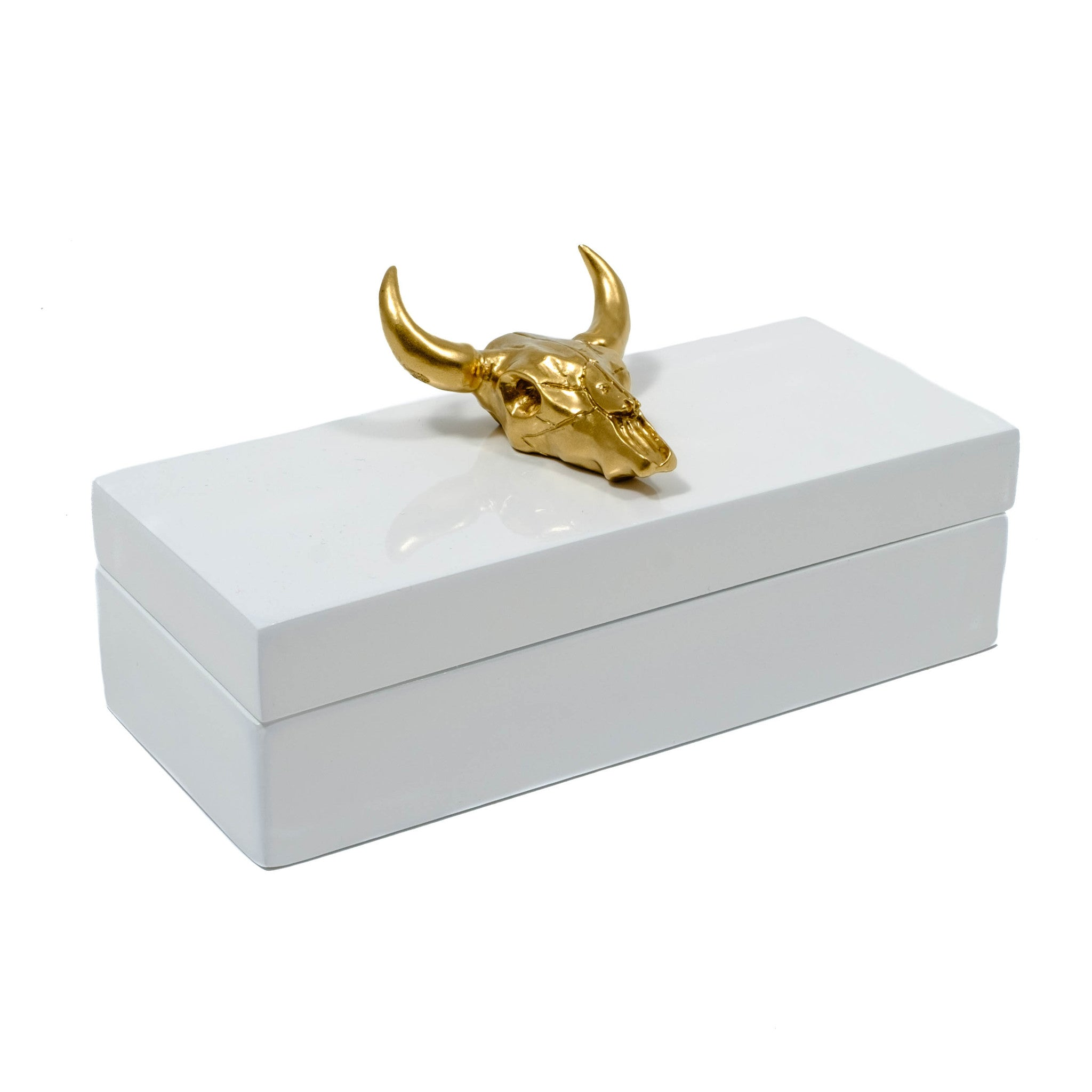 White Lacquer box with a gold long horn bull head skull.