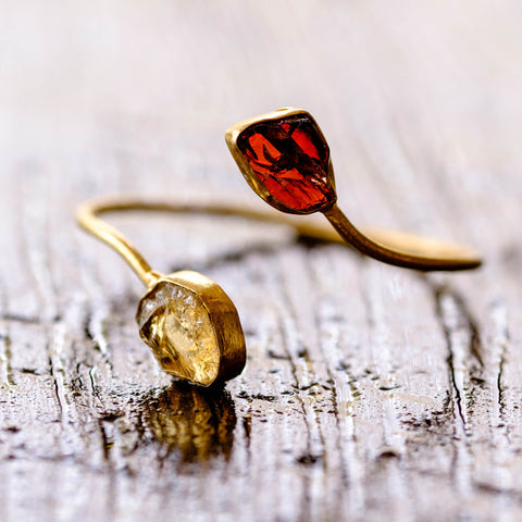 Gemmy cuff in Citrine and Garnet
