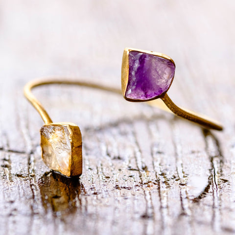 Citrine and Amethyst Gemmy Cuff