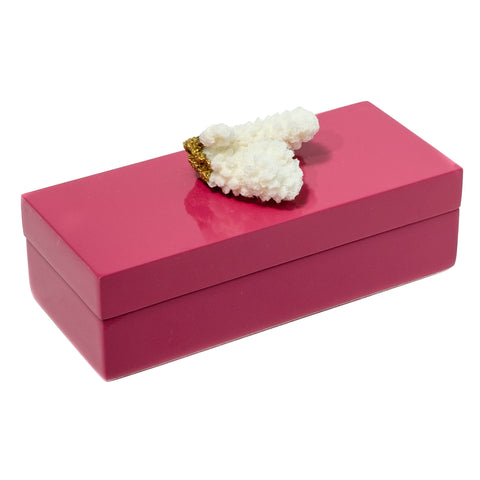Small Pink Lacquer Box with Gold and Coral