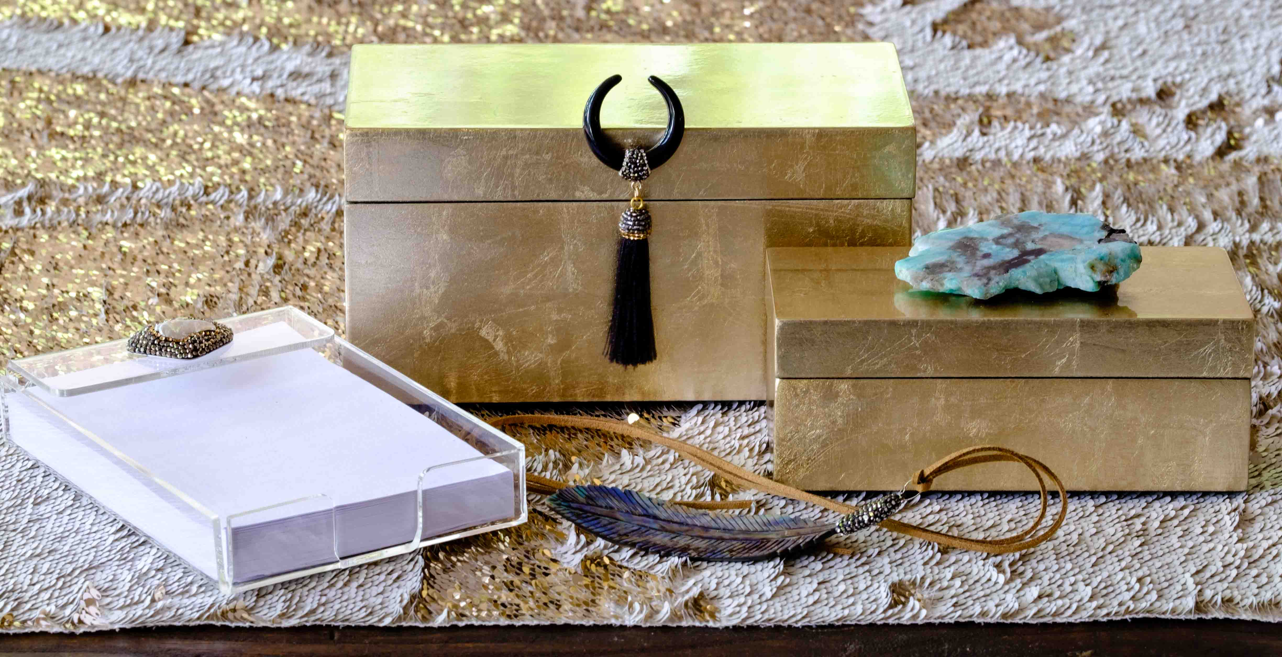Unique gift boxes in gold with amazonite by Mapleton Drive