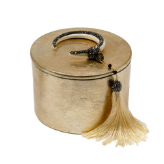 Round Gold Lacquer Box with Crescent Moon and Tassel by Mapleton Drive