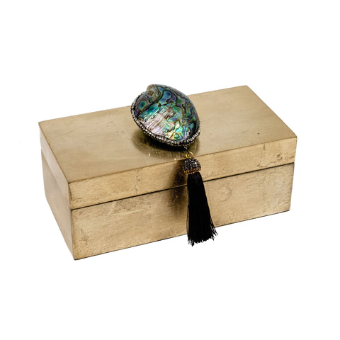 Unique jewelry boxes in gold and abalone shell and  tassel by Mapleton Drive