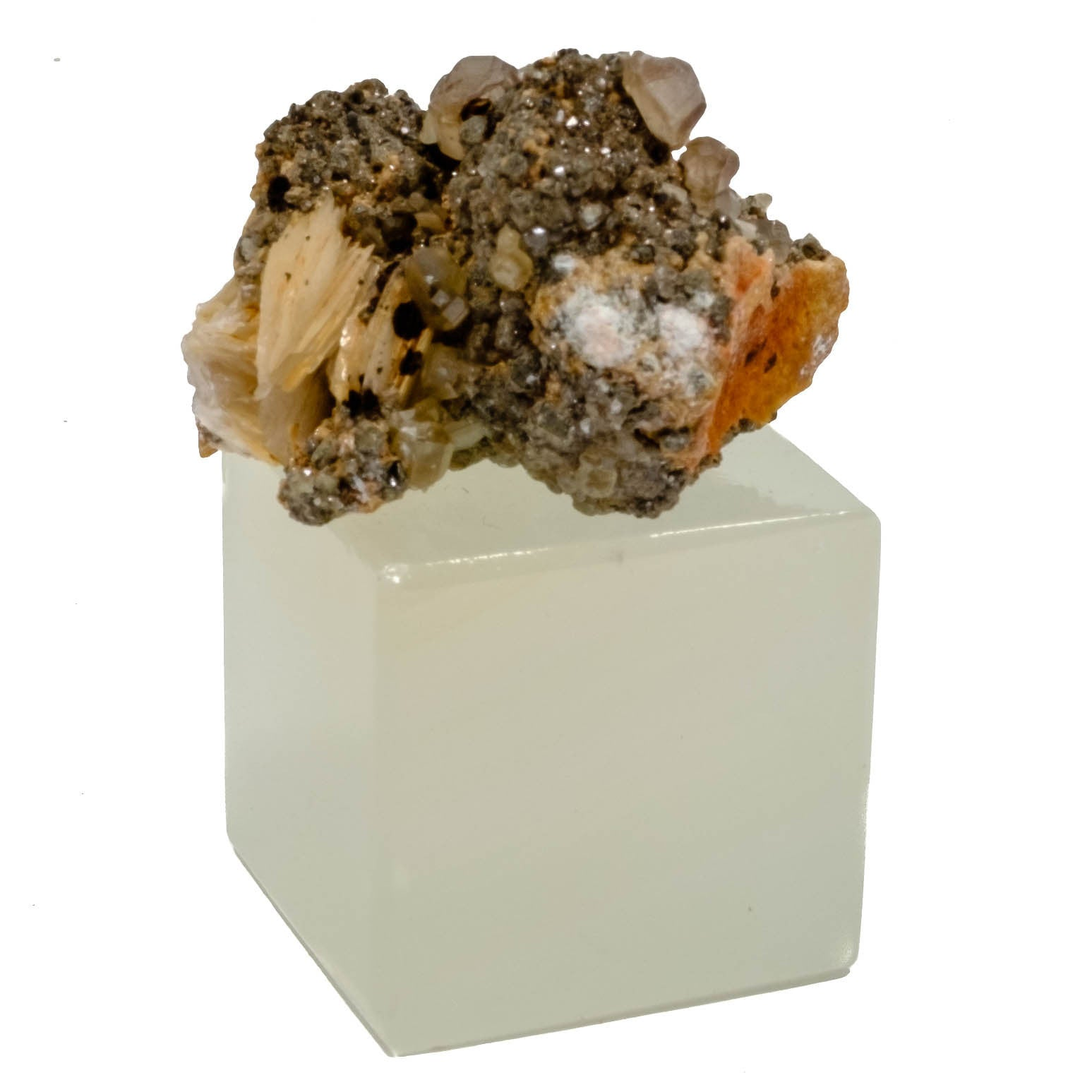 Cerussite & Barite Specimen Raw Stone on a Onyx Stand Paper Weight