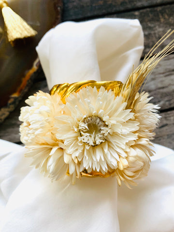 Gold Leaf Ornate Napkin Rings with Botanical Dried Flowers in Natural White (Set of 4)