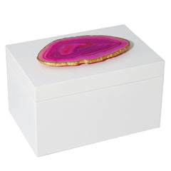 Remote White Lacquer Box with Pink Agate