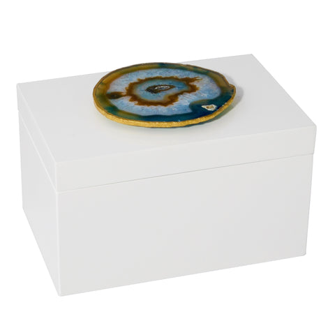 Remote White Lacquer Box with Natural Agate