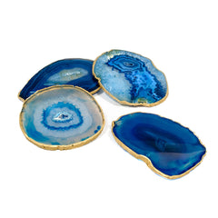 Blue agate coasters for your tablescape.