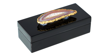 Small Black Lacquer Box w/ Natural Agate
