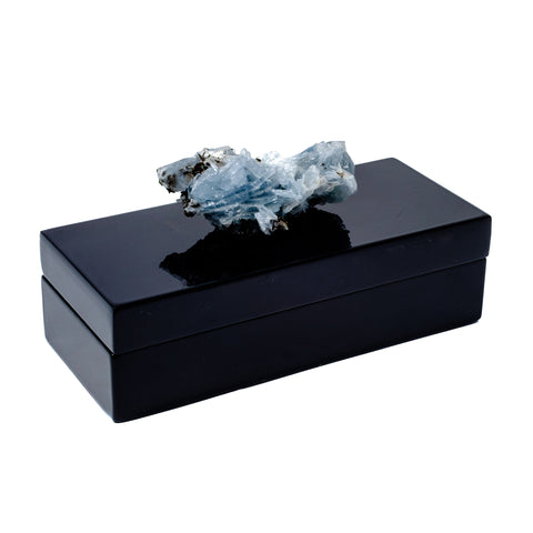 Black Lacquer box with a beautiful barite crystal by Mapleton Drive