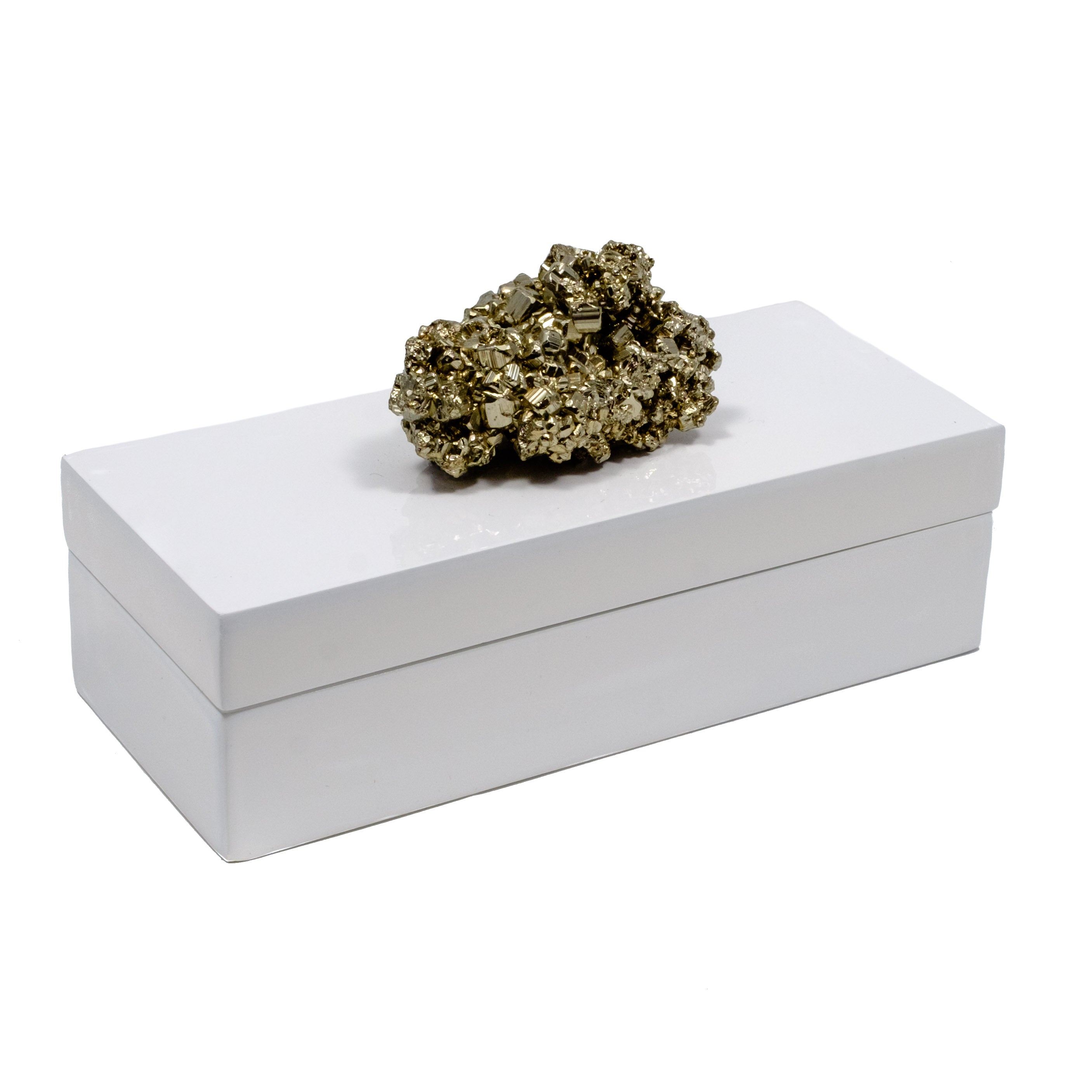 White Lacquer box with a pyrite specimen.