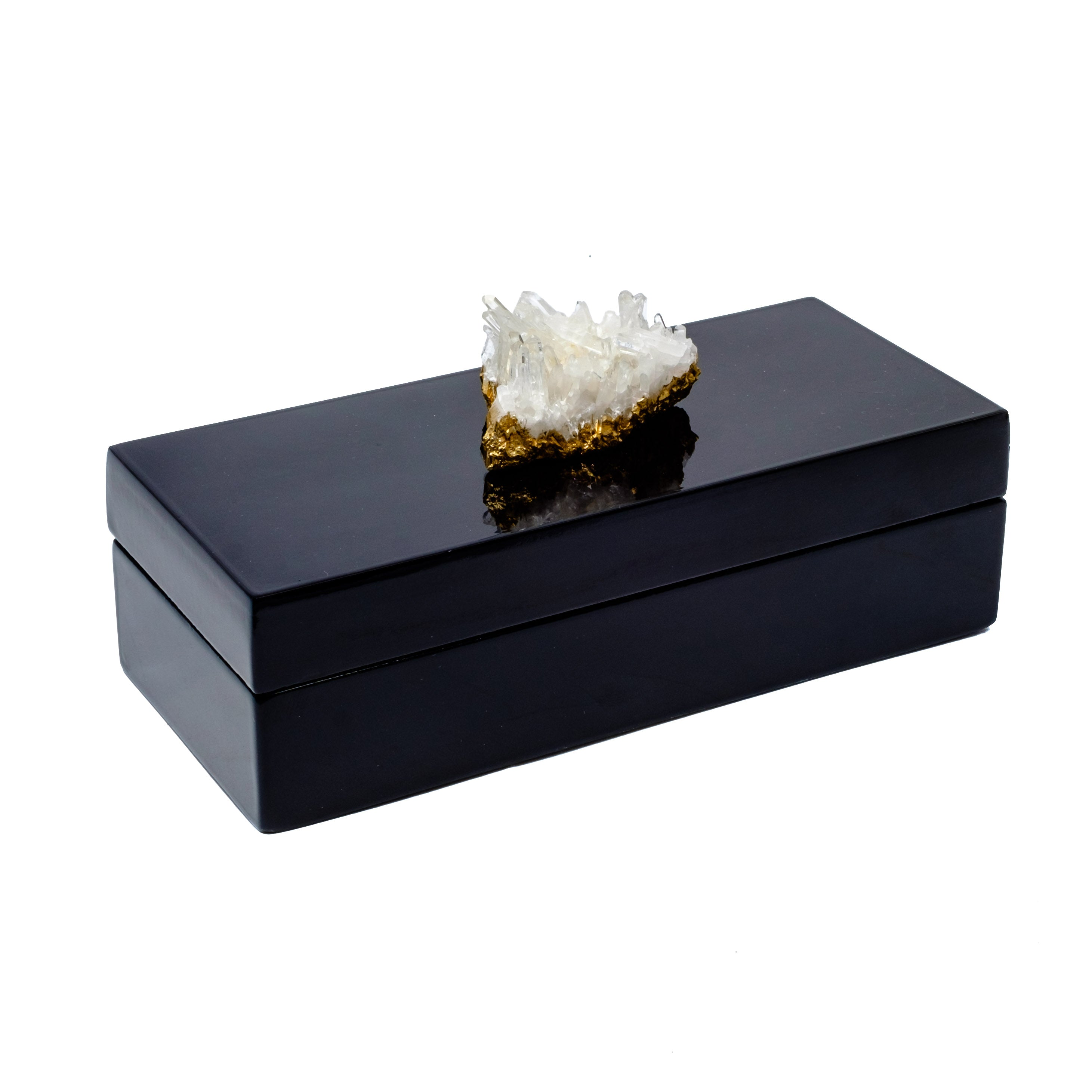 Black Lacquer box with a beautiful quartz crystal by Mapleton Drive